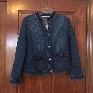 Chico's denim jacket w/ black/gold trim size 0